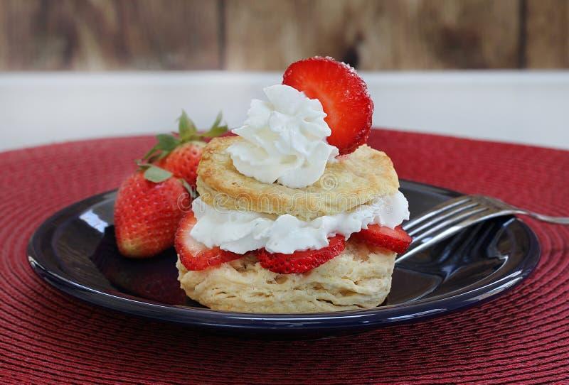 Verse aardbei shortcake met eigengemaakte koekjes en versierd royalty-vrije stock afbeelding