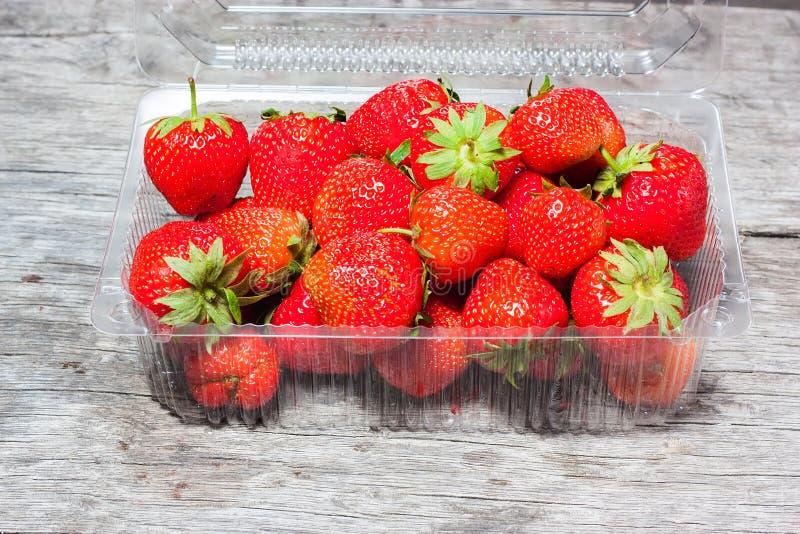 Verse aardbeien in plastic doos royalty-vrije stock afbeeldingen