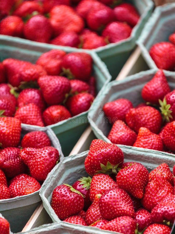 Verse aardbeien voor verkoop op een markt stock afbeelding