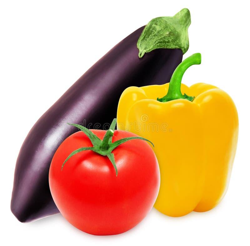 Verse aubergine, gele paprika en rode tomaten stock fotografie