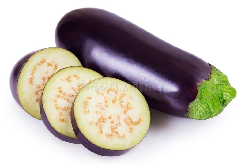 Verse aubergine op witte achtergrond royalty-vrije stock afbeelding