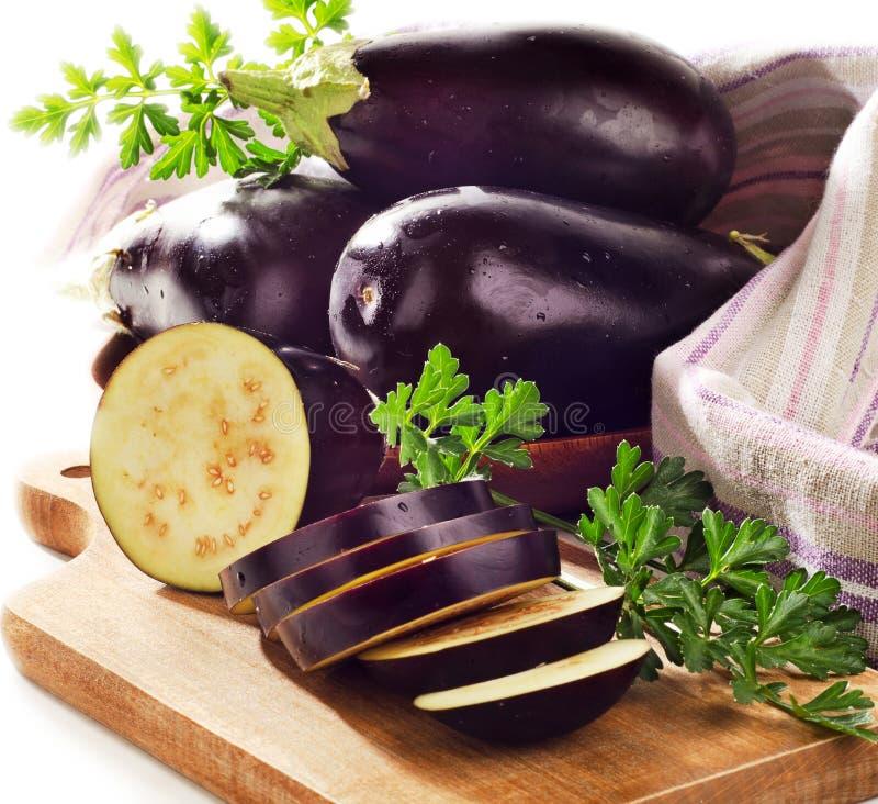 Verse aubergines royalty-vrije stock foto