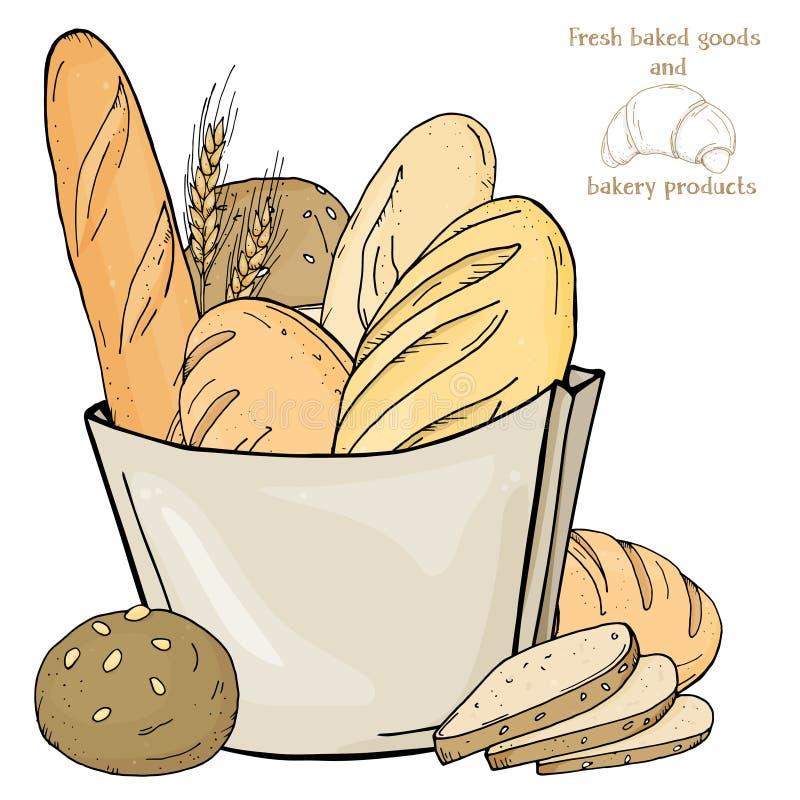 Verse bakkerijproducten in document zak op witte achtergrond Knuppel, broodjes, baguette, ciabatta illustratie in schetsstijl stock illustratie