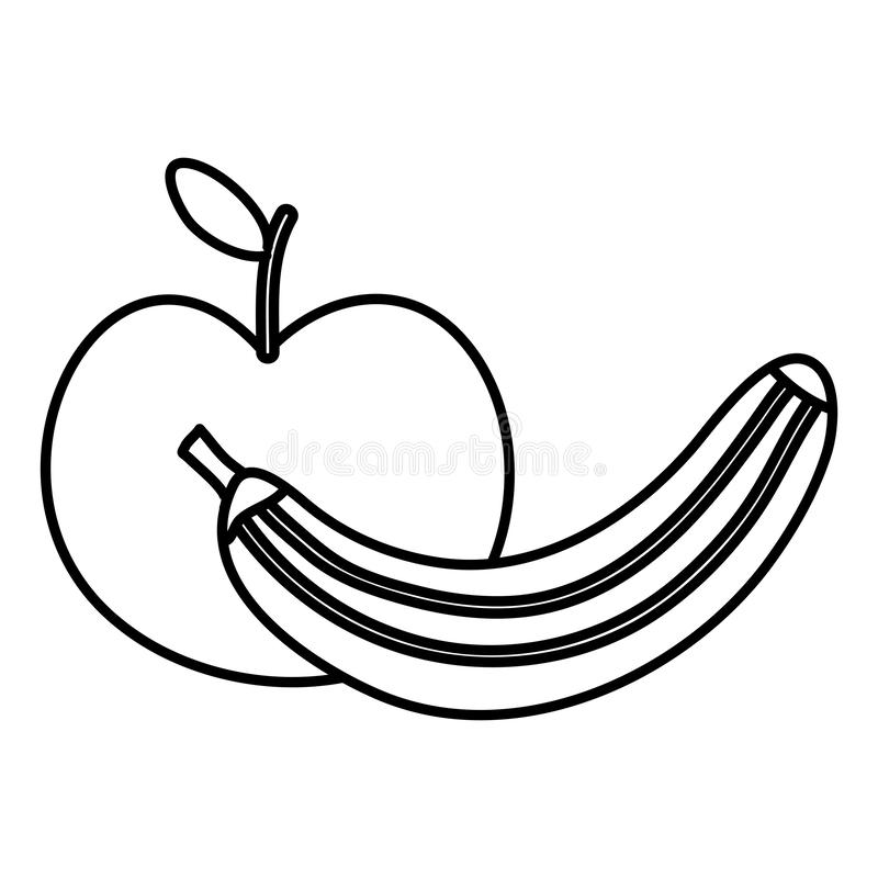 Verse banaan en appelvruchten stock illustratie