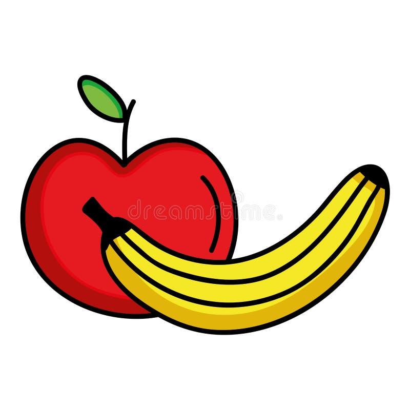 Verse banaan en appelvruchten royalty-vrije illustratie