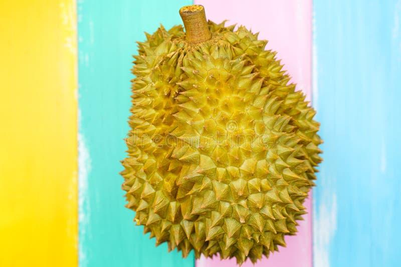 Verse Besnoeiing Monthong Durian op kleurrijke achtergrond, close-upmening van Durian, Monthong Durian Monleren riem Mooie Durian stock afbeelding