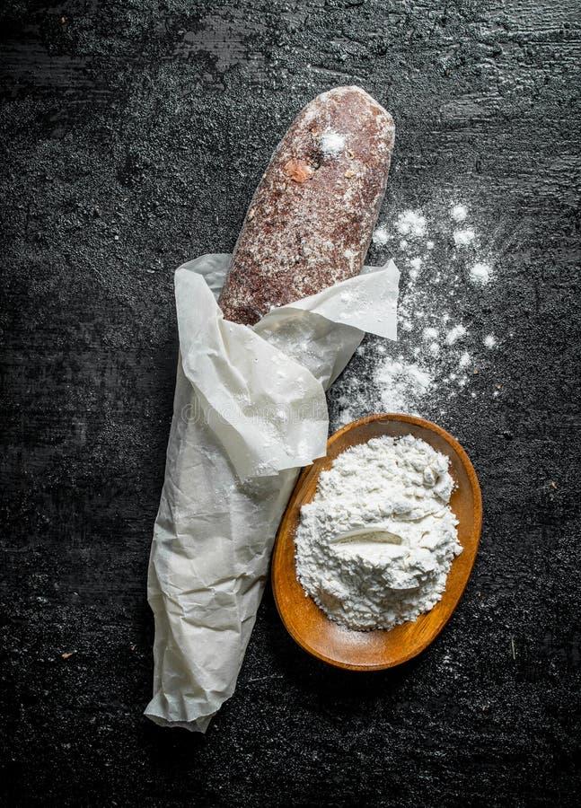 Verse brood en bloem stock foto's