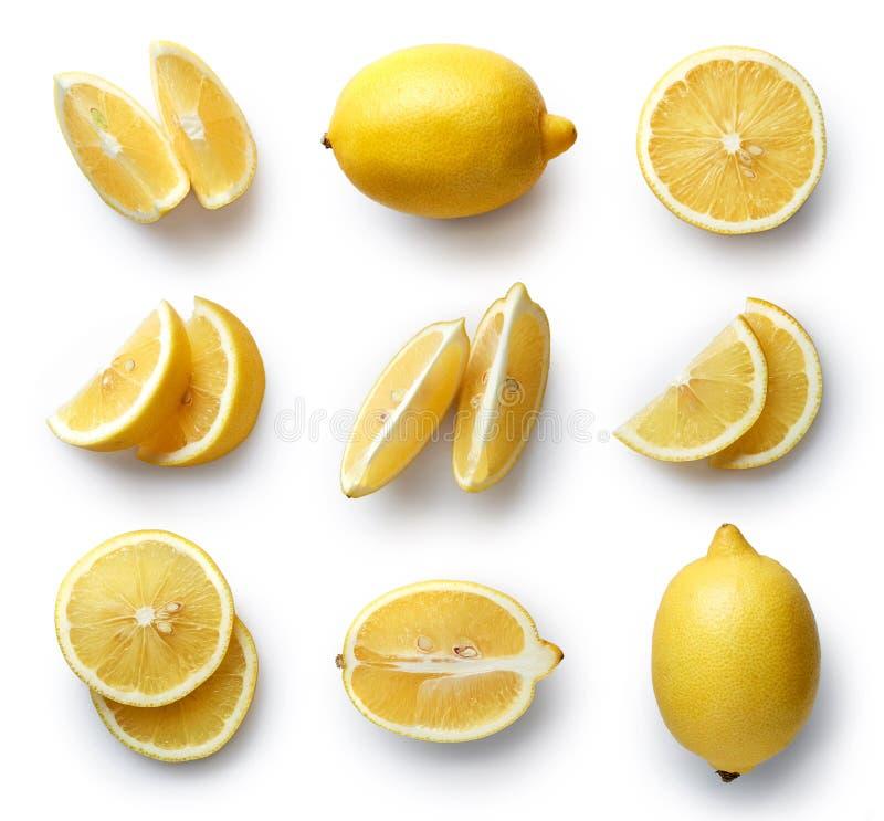 Verse citroen die op witte achtergrond wordt geïsoleerd stock afbeelding