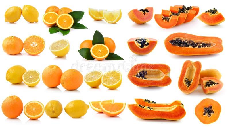 Verse citroen Oranje fruit en papaja royalty-vrije stock afbeeldingen