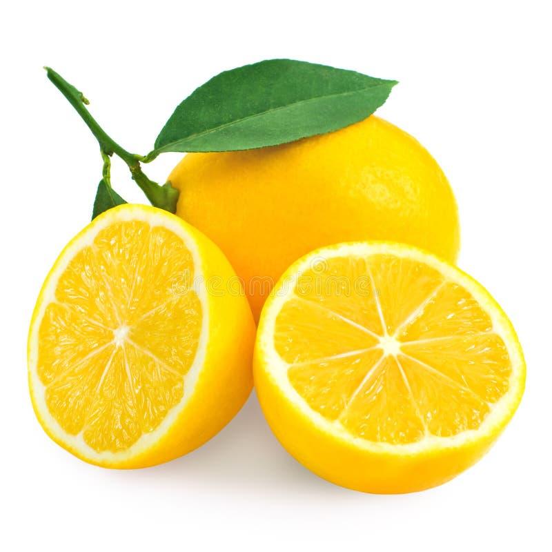 Verse citroencitrusvrucht en half stock foto's