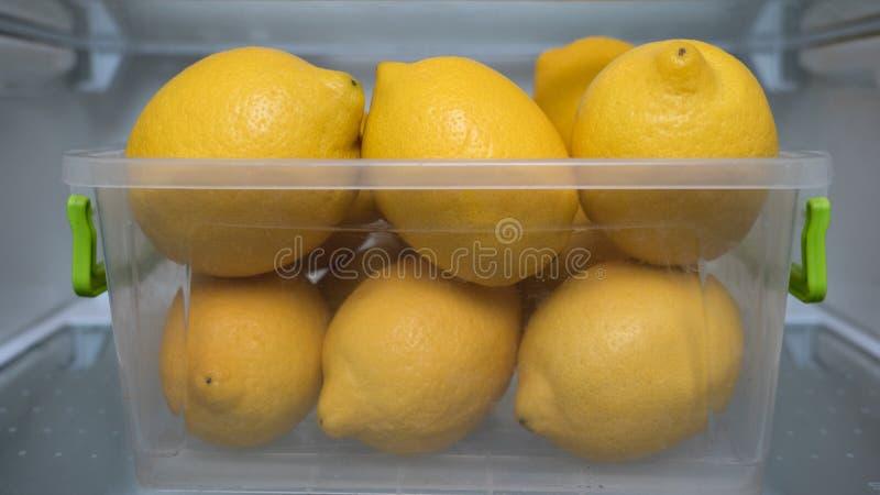 Verse citroenen in de koelkast, ijskast Koelbox voor het houden van citroenen vers Gele citroenen in koeler Vitamine Cconcept lim stock afbeelding