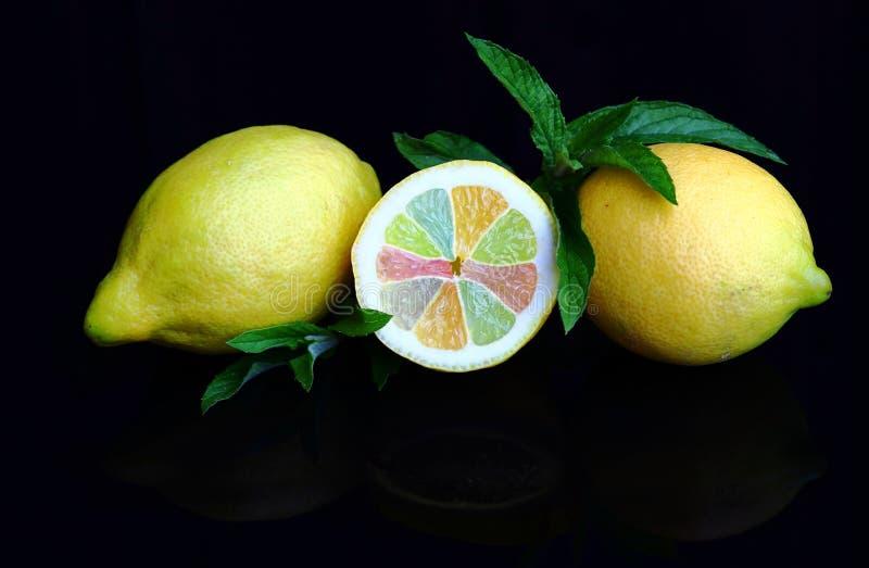 Verse citroenen met kleurrijke stukken van fruit en pepermunt royalty-vrije stock afbeeldingen