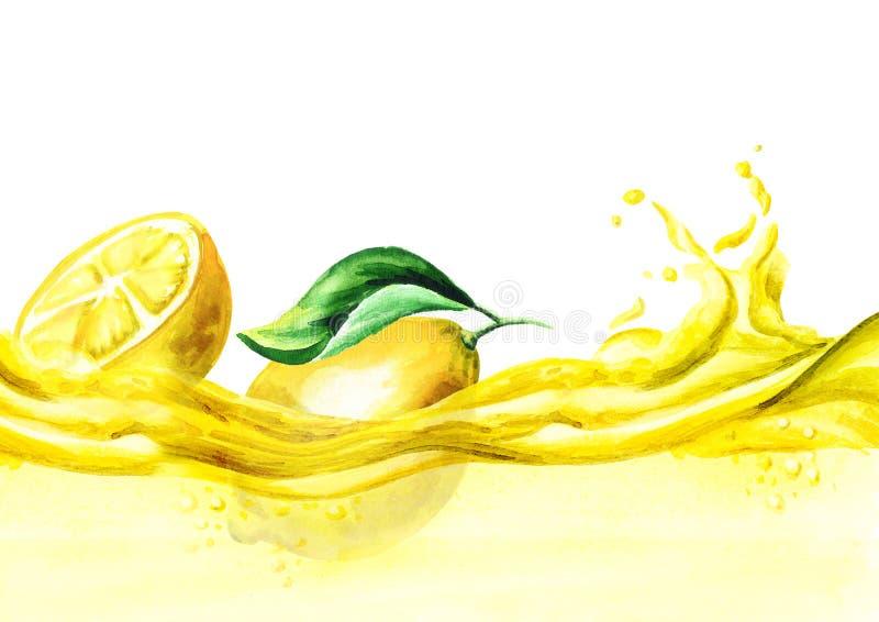 Verse citroenen op een golf van limonade, waterverfhand getrokken illustratie stock illustratie
