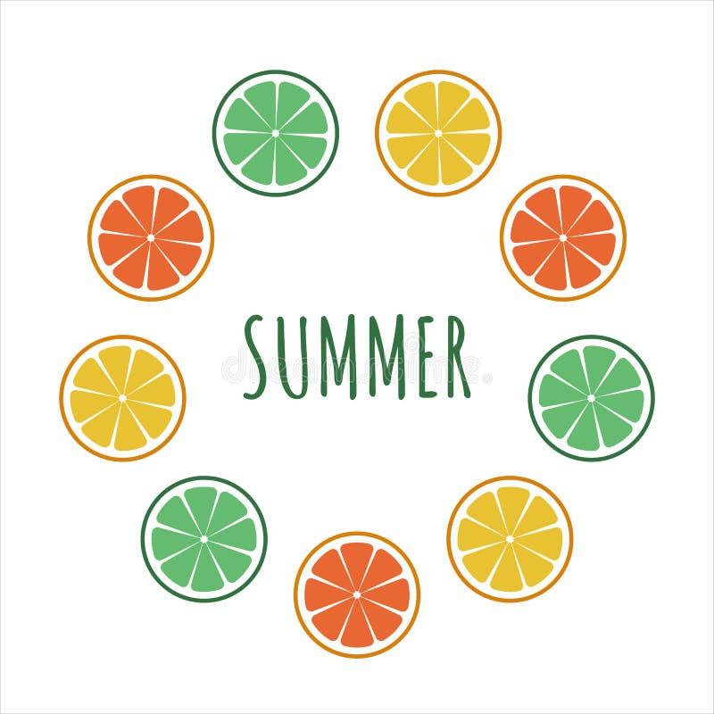 Verse citrusvruchten met cirkelkader citroenen, sinaasappelen, mandarijnen, kalk en grapefruit De zomertekst Vector illustratie vector illustratie
