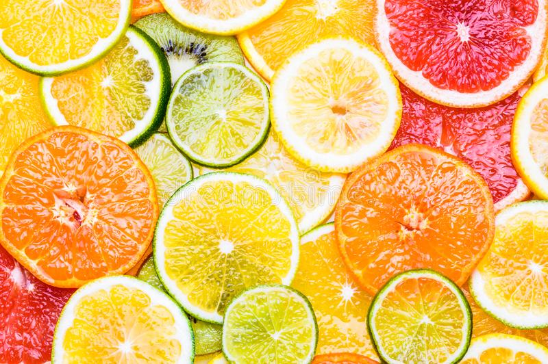Verse citrusvruchtenachtergrond royalty-vrije stock afbeeldingen