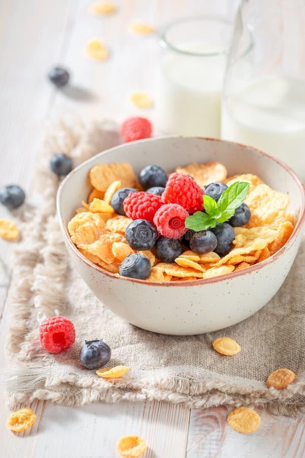 Verse cornflakes met bessen en melk als gezonde maaltijd royalty-vrije stock foto's