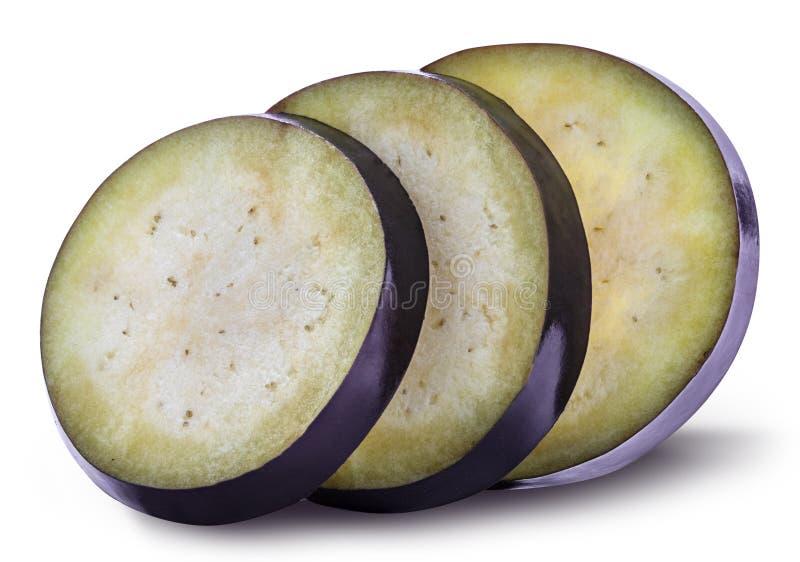 Verse die aubergine met schaduw op een witte achtergrond wordt geïsoleerd royalty-vrije stock fotografie
