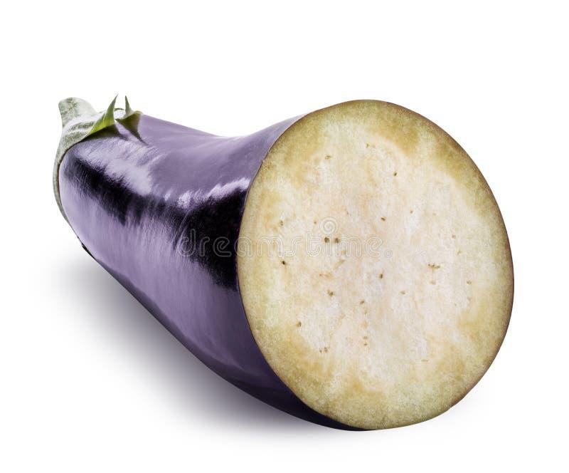 Verse die aubergine met schaduw op een witte achtergrond wordt geïsoleerd royalty-vrije stock afbeeldingen