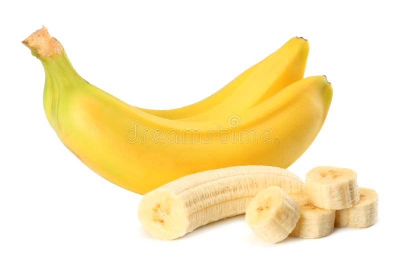 Verse die banaan op witte achtergrond wordt geïsoleerd Gezond voedsel stock afbeelding