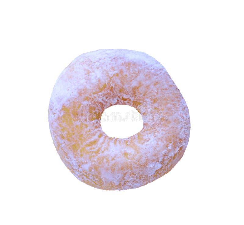 Verse die doughnut met suiker op witte achtergrond wordt geïsoleerd royalty-vrije stock foto's