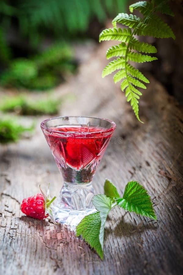 Verse die frambozenlikeur van vruchten en alcohol wordt gemaakt royalty-vrije stock fotografie