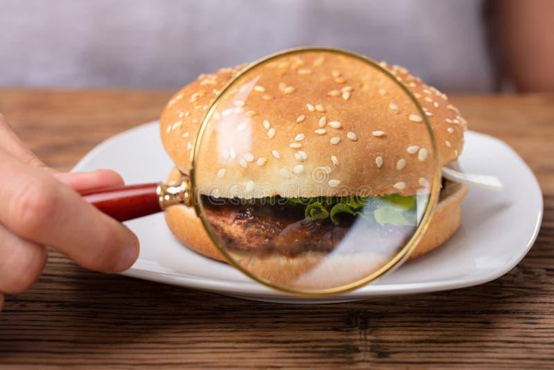 Verse die Hamburger door Vergrootglas wordt gezien stock fotografie