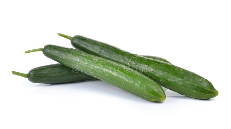 Verse die komkommers op witte achtergrond worden geïsoleerd royalty-vrije stock foto's