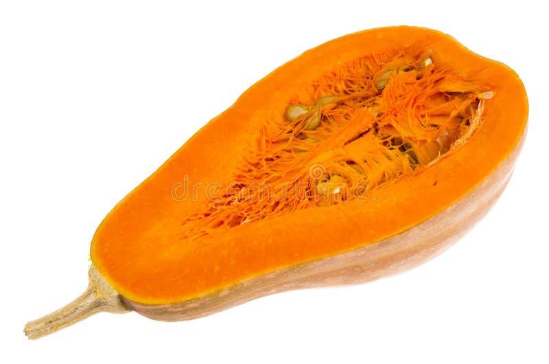 Verse die sinaasappel in halve Cucurbita-moschata wordt gesneden royalty-vrije stock afbeelding