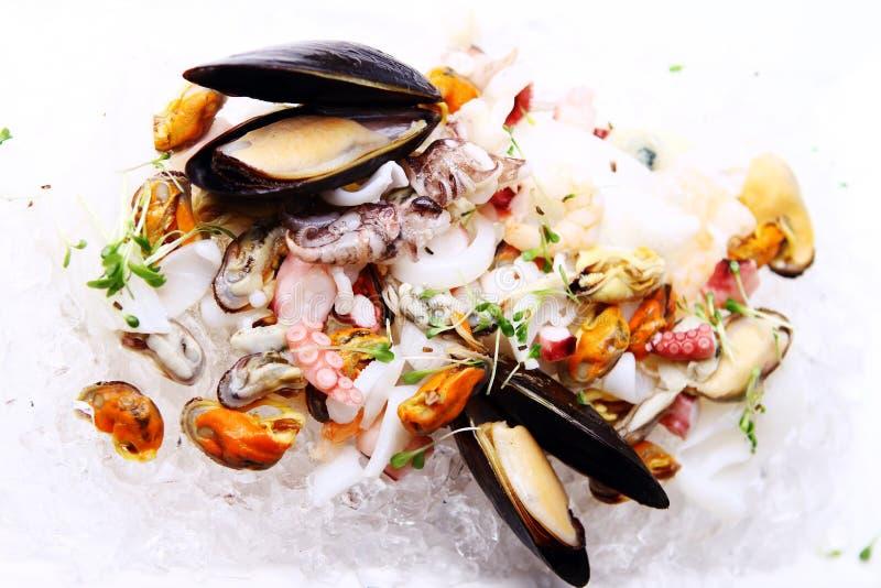 Verse diverse die zeevruchten op ijs worden gediend stock foto