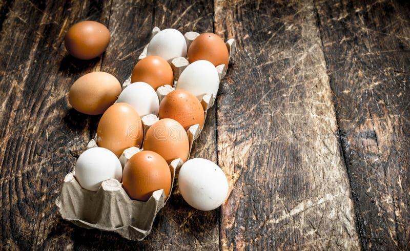 Verse eieren in een cassette royalty-vrije stock foto's