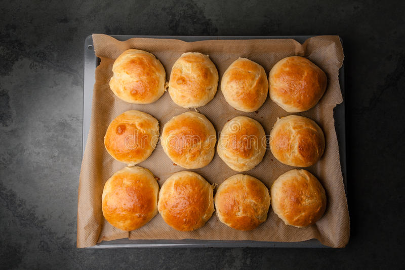 Verse eigengemaakte Hamburgerbroodjes/Brioche stock afbeeldingen