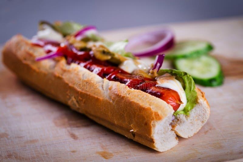 Verse eigengemaakte hotdog stock foto's