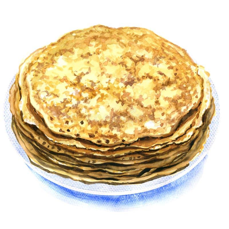 Verse eigengemaakte pannekoeken op een geïsoleerde plaat royalty-vrije stock afbeeldingen