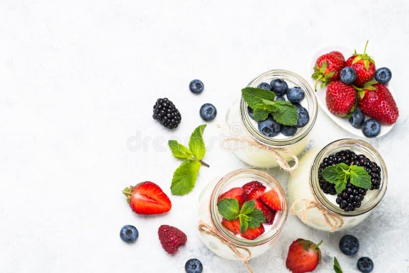 Verse eigengemaakte yoghurt met bessen royalty-vrije stock afbeeldingen