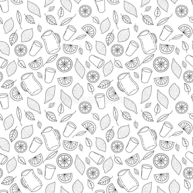 Verse en smakelijke limonade, water, drank, saphand getrokken naadloos patroon vector illustratie