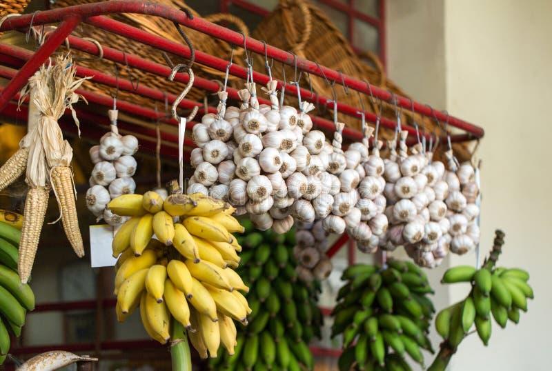 Verse exotische vruchten in Mercado Dos Lavradores Funchal, madera royalty-vrije stock afbeeldingen