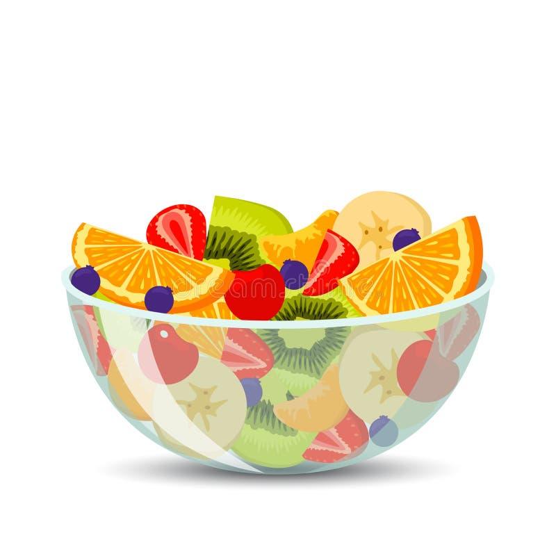 Verse fruitsalade in een transparante kom die op achtergrond wordt geïsoleerd Het concept gezonde en sportenvoeding Vector illust royalty-vrije illustratie