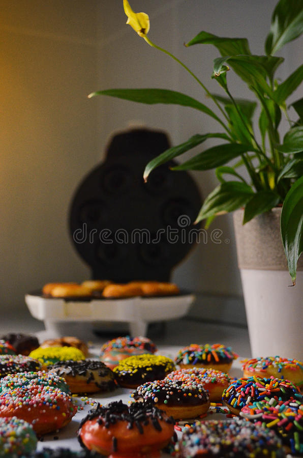 Verse gebakken Amerikaanse donuts stock afbeelding