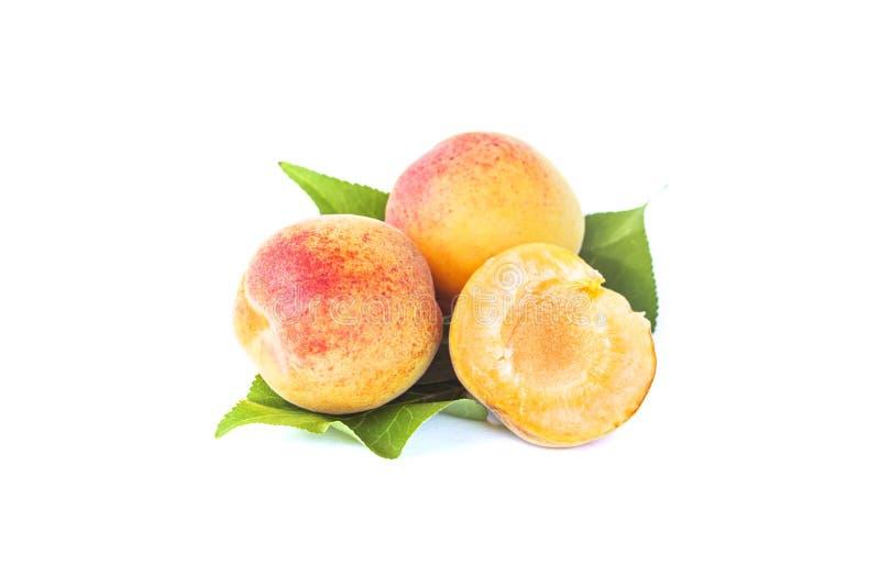 Verse gehele zoete abrikozenvruchten met blad en half, rijp fruit, geïsoleerde abrikozen, element voor pakketontwerp, op wit stock afbeeldingen