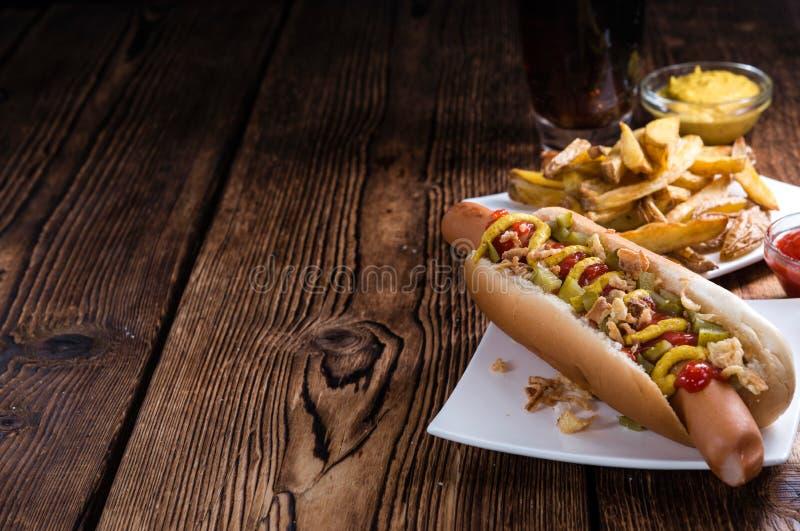 Verse gemaakte Hotdog stock foto