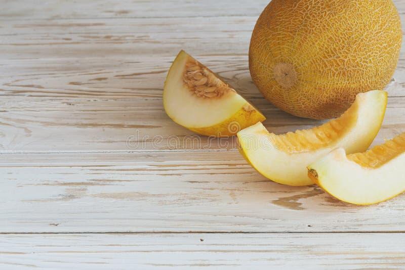 Verse gesneden meloenen stock afbeelding