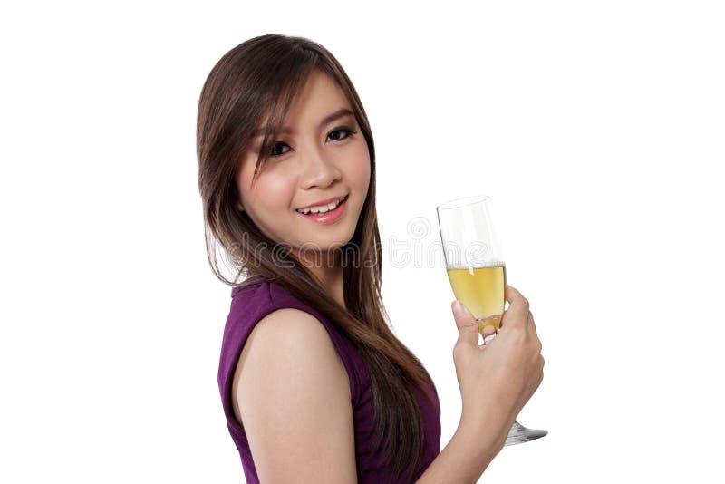 Verse gezicht en champagne, op wit royalty-vrije stock foto's