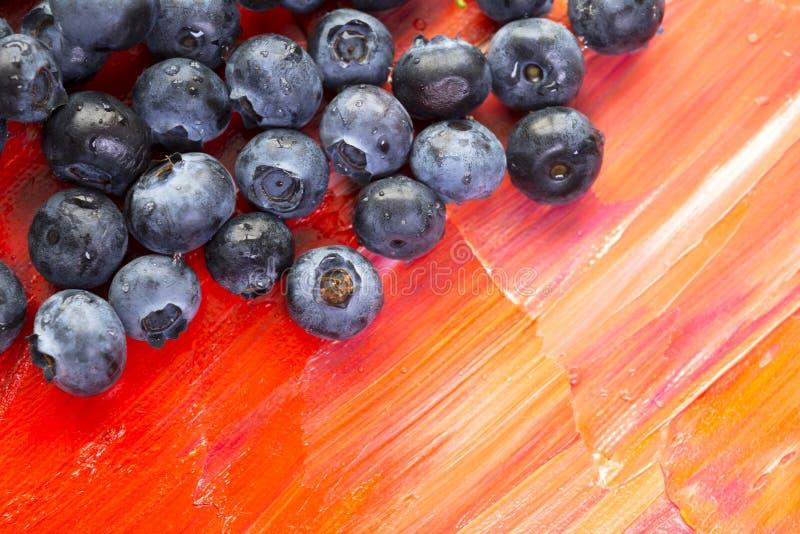 Verse gezonde bessen van bosbessen op rood canvas stock afbeelding