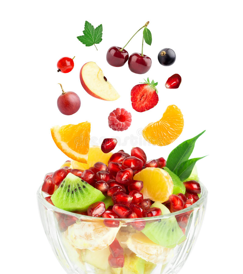 Verse gezonde fruitsalade royalty-vrije stock foto's