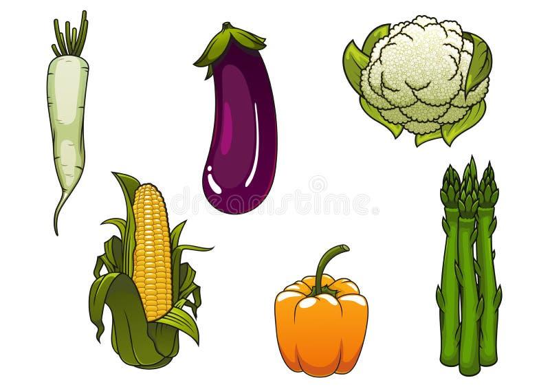 Verse gezonde geïsoleerde landbouwbedrijfgroenten stock illustratie