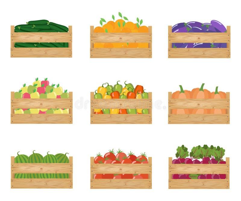 Verse gezonde groenten en vruchten in houten dozen vector illustratie