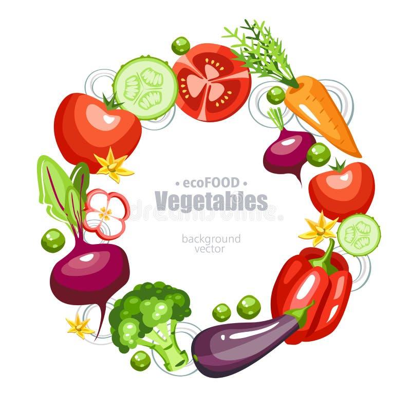 Verse gezonde groentenronde als achtergrond royalty-vrije illustratie