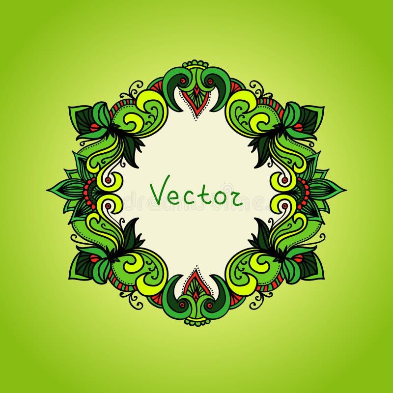 Verse groene achtergrond met bloemenkader De zomer vector illustratie