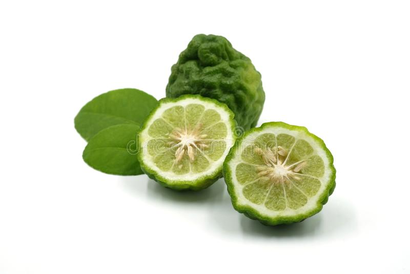 Verse groene bergamot op witte achtergrond stock afbeelding