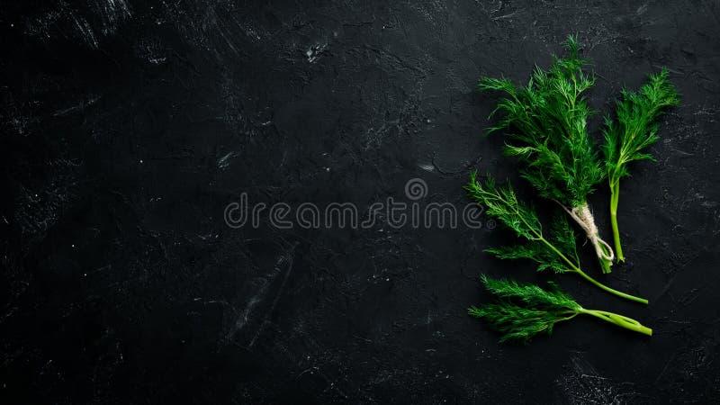 Verse groene dille Op een zwarte steenachtergrond stock fotografie